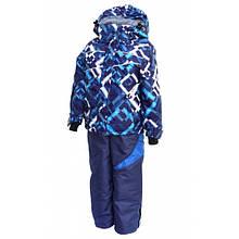 Комбинезон зимний раздельный для мальчика (синий с принтом) (размеры от 80 до 170)  Код 4604