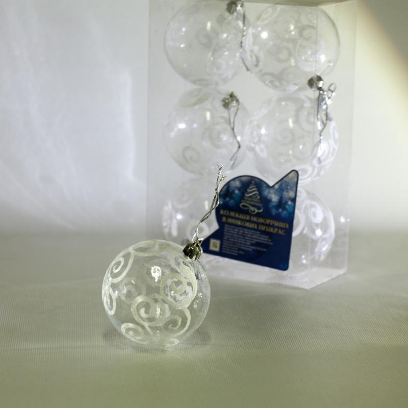 8714 Елочные шарики прозрачные 8см 6шт/кор (64кор)