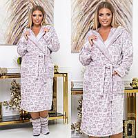 Женский махровый халат с сапожками мод 809 (от 42 до 60), фото 1
