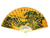 """Веер настенный """"Пейзаж с летящими журавлями на желтом фоне"""" шелк 90см (25468)"""