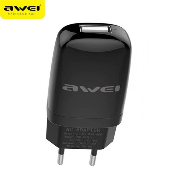 Сетевой адаптер Awei C821 5V, 2.1A, 1 USB зарядка