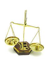 Весы бронзовые на деревянной подставке 100г 22х10х16см (1579)