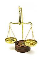 Весы бронзовые на деревянной подставке 20г 17х6,5х11см (1578)