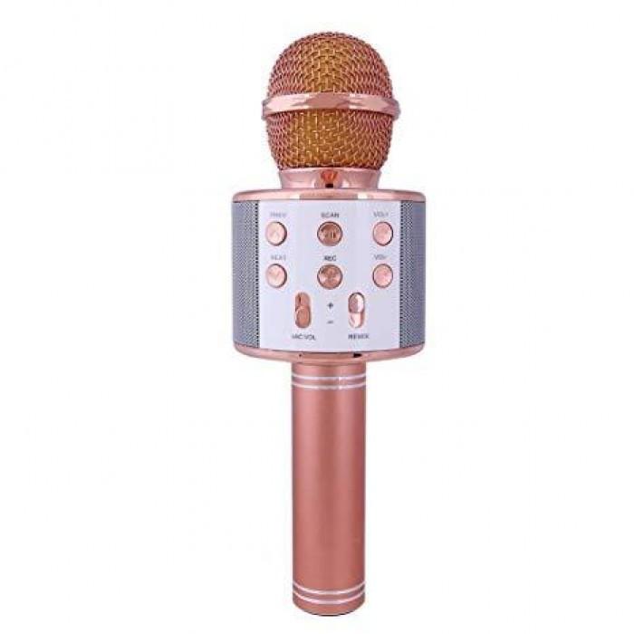 Беспроводной микрофон караоке блютуз WS-858 Bluetooth динамик USB Розово-Золотой