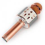 Беспроводной микрофон караоке блютуз WS-858 Bluetooth динамик USB Розово-Золотой, фото 2