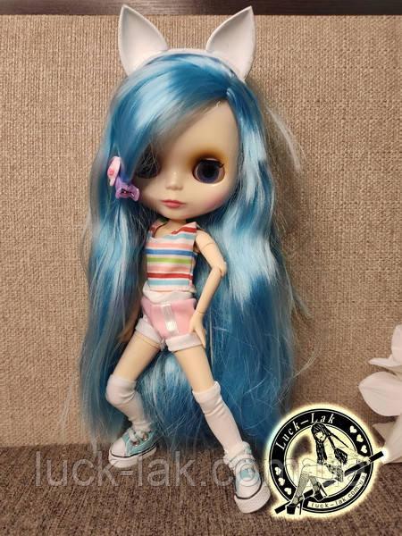 Шарнирная кукла Блайз (Айси) голубые волосы и набор кистей + подарки (ушки, костюм и кроссовки)