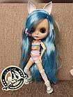 Шарнирная кукла Блайз (Айси) голубые волосы и набор кистей + подарки (ушки, костюм и кроссовки), фото 4