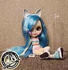 Шарнирная кукла Блайз (Айси) голубые волосы и набор кистей + подарки (ушки, костюм и кроссовки), фото 3
