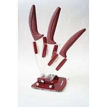 Керамические кухонные ножи на подставке, набор Giakoma G-8141 Коричневые