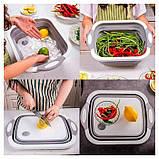 Складная разделочная доска для мытья и резки овощей, фото 6