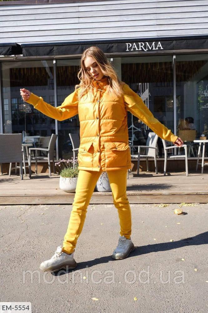 Женский костюм-тройка худи брюки жилетка, размеры 42-44, 44-46