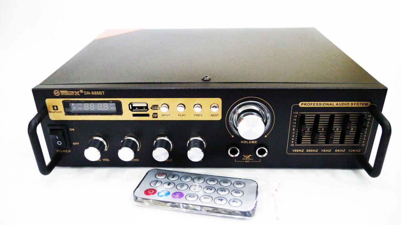 Підсилювач звуку Max SN-888BT Bluetooth + USB+ Fm+ Mp3 + караоке на 2 мікрофона