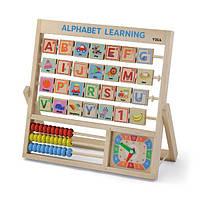 Деревянная игра Viga Toys Английский алфавит с часами и счетами (50033), фото 1