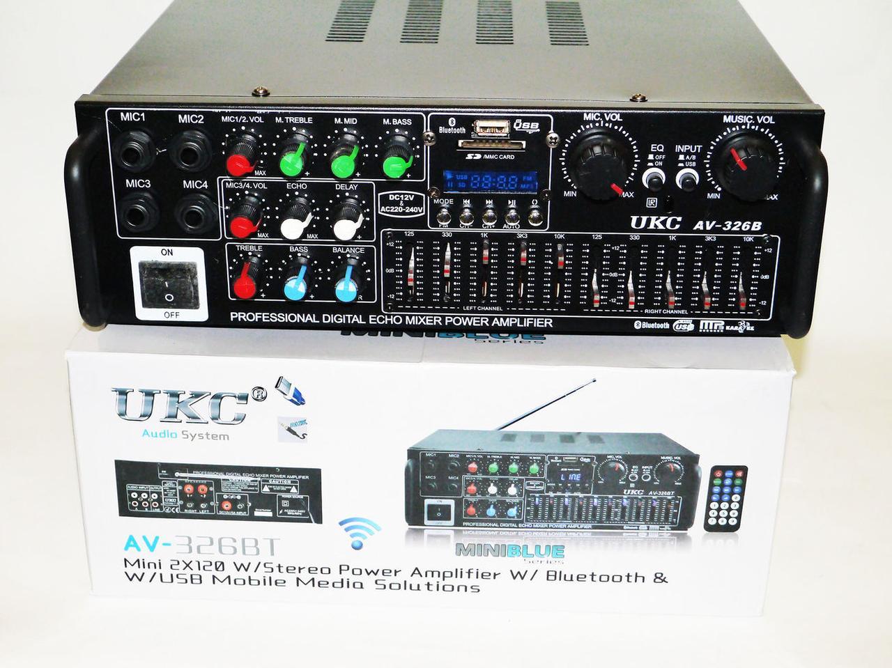 Мощный усилитель звука для колонок UKC AV-326BT Bluetooth Караоке на 4 микрофона