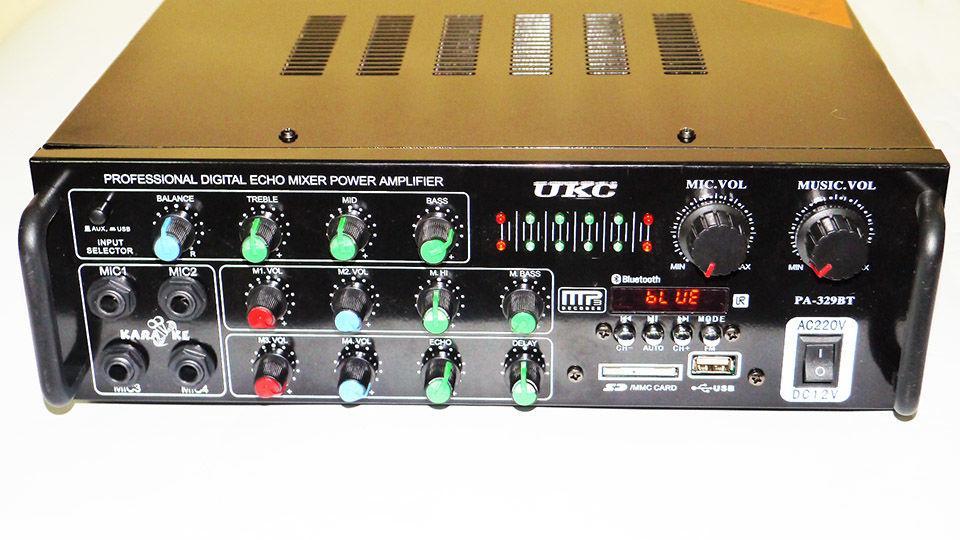 Підсилювач звуку UKC AV-329BT Bluetooth Караоке на 4 мікрофону