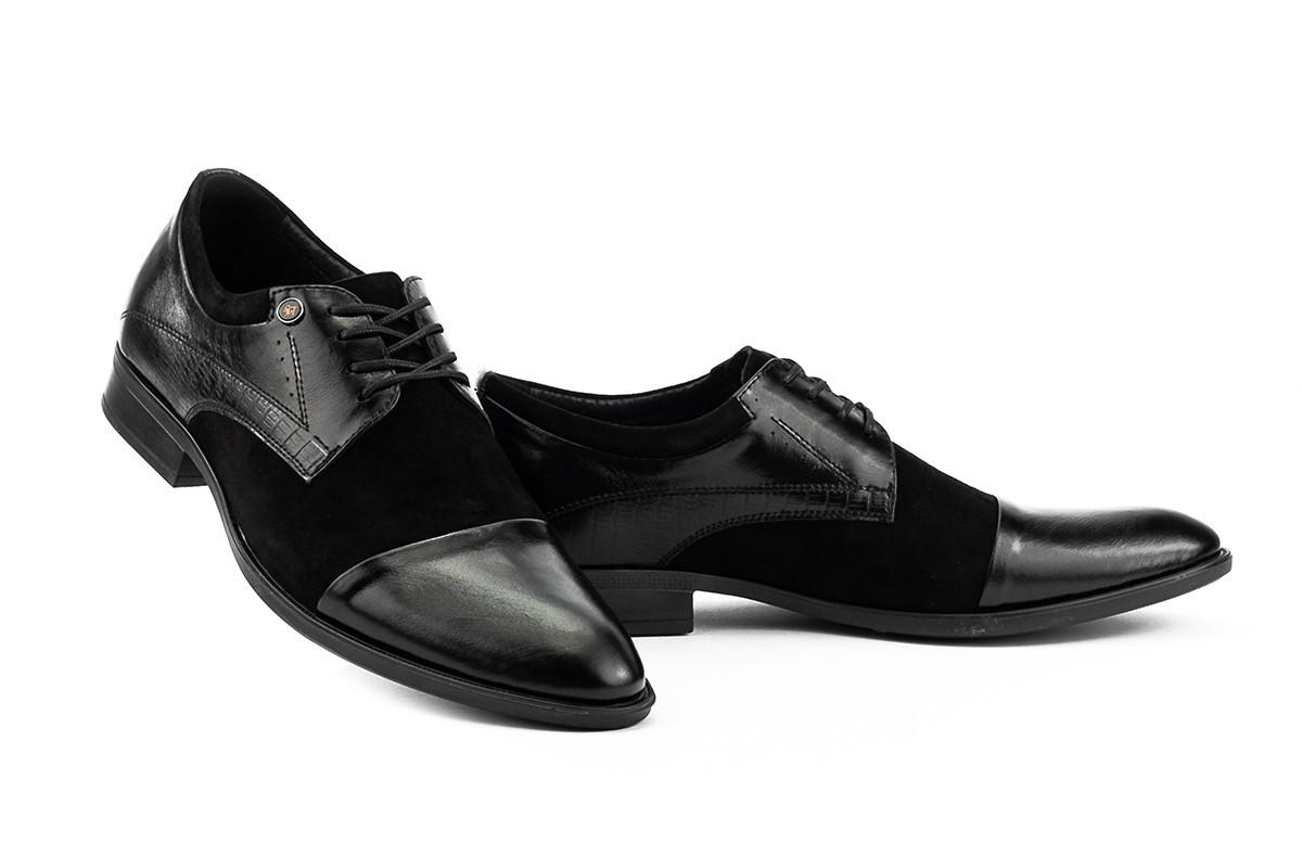 Мужские туфли замшевые весна/осень черные Slat 19401 на шнурках