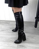 Кожаные стильные высокие сапоги, фото 1