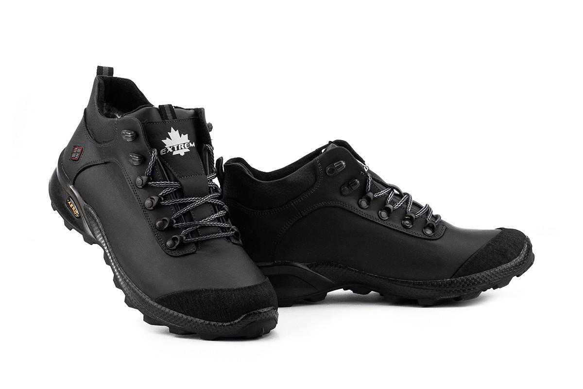 Мужские ботинки кожаные зимние черные Extrem Б-25/43-01