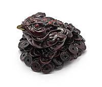 Жаба на монетах каменная крошка коричневая (7х10,5х9,5см)