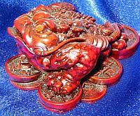 Жаба на монетах каменная крошка коричневая (7х6х3,5см)