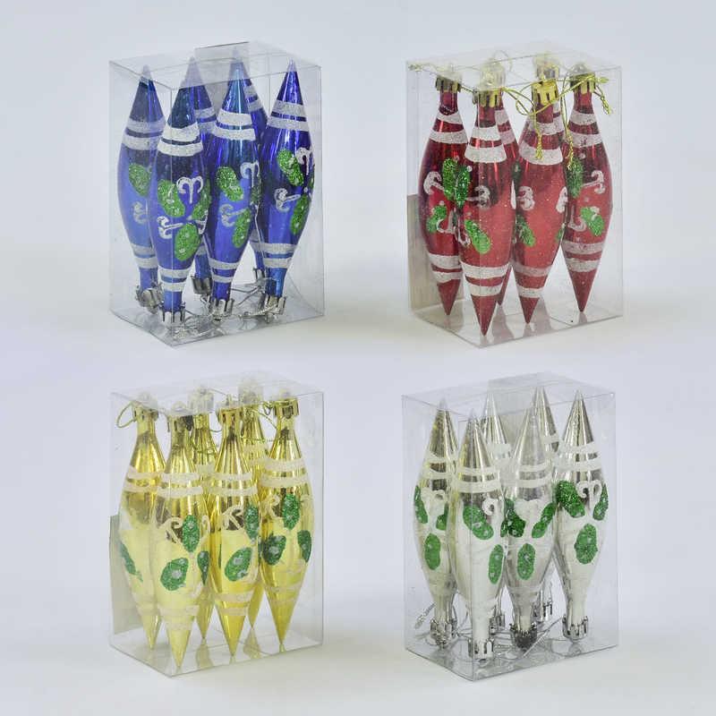Ёлочная игрушка С 30897 Сосулька (240) 12см, 4 цвета, 6шт в наборе