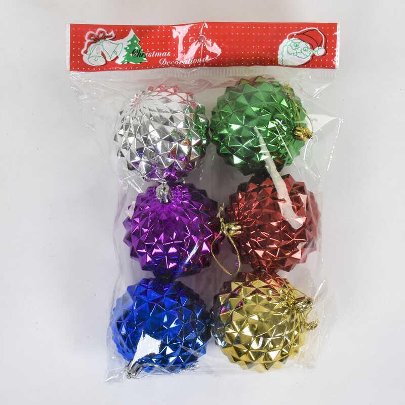 """Ёлочная игрушка С 22536 (64) """"Шарики"""" 6шт в кульке, d=8см"""