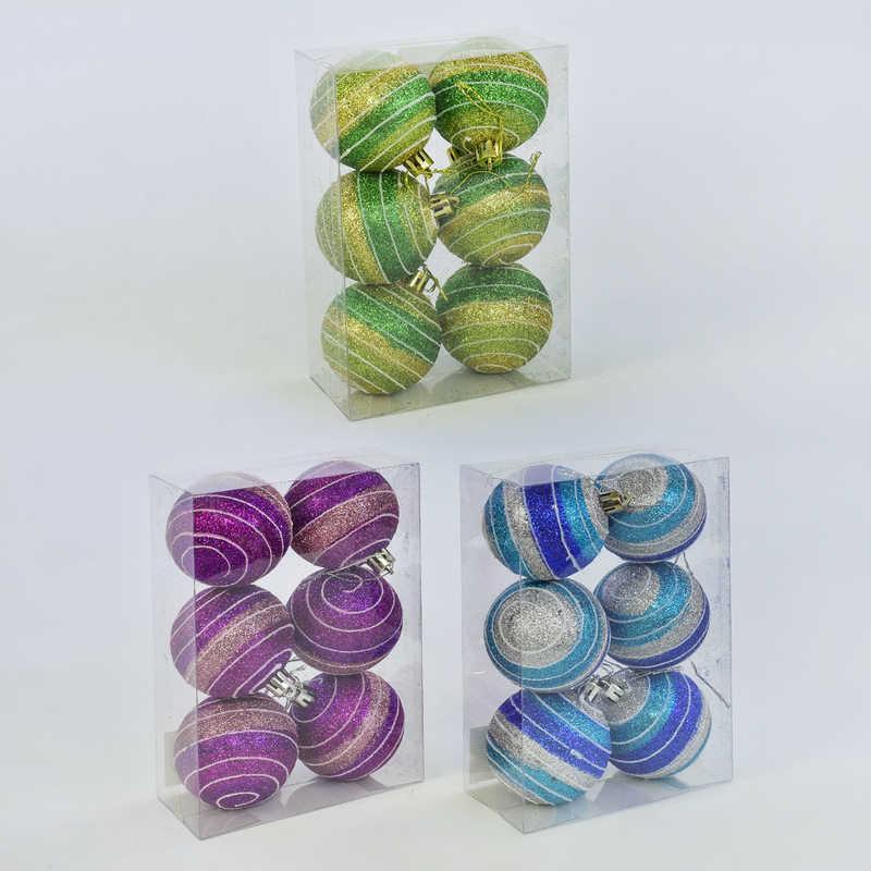 Ёлочная игрушка С 30575 (96) Шары, 3 цвета, 6шт в наборе, d=5см