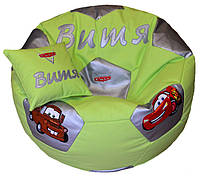 Бескаркасное Кресло мяч футбол пуф ТАЧКИ для детей