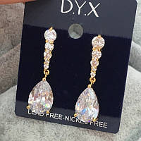 """Жіночі сережки з цирконом """"DYX"""" медична сталь"""