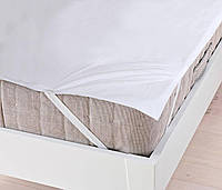 Наматрасник на резинке водонепроницаемый Аква Стоп: мембранная и махровая ткань, цвет белый 160х200 см