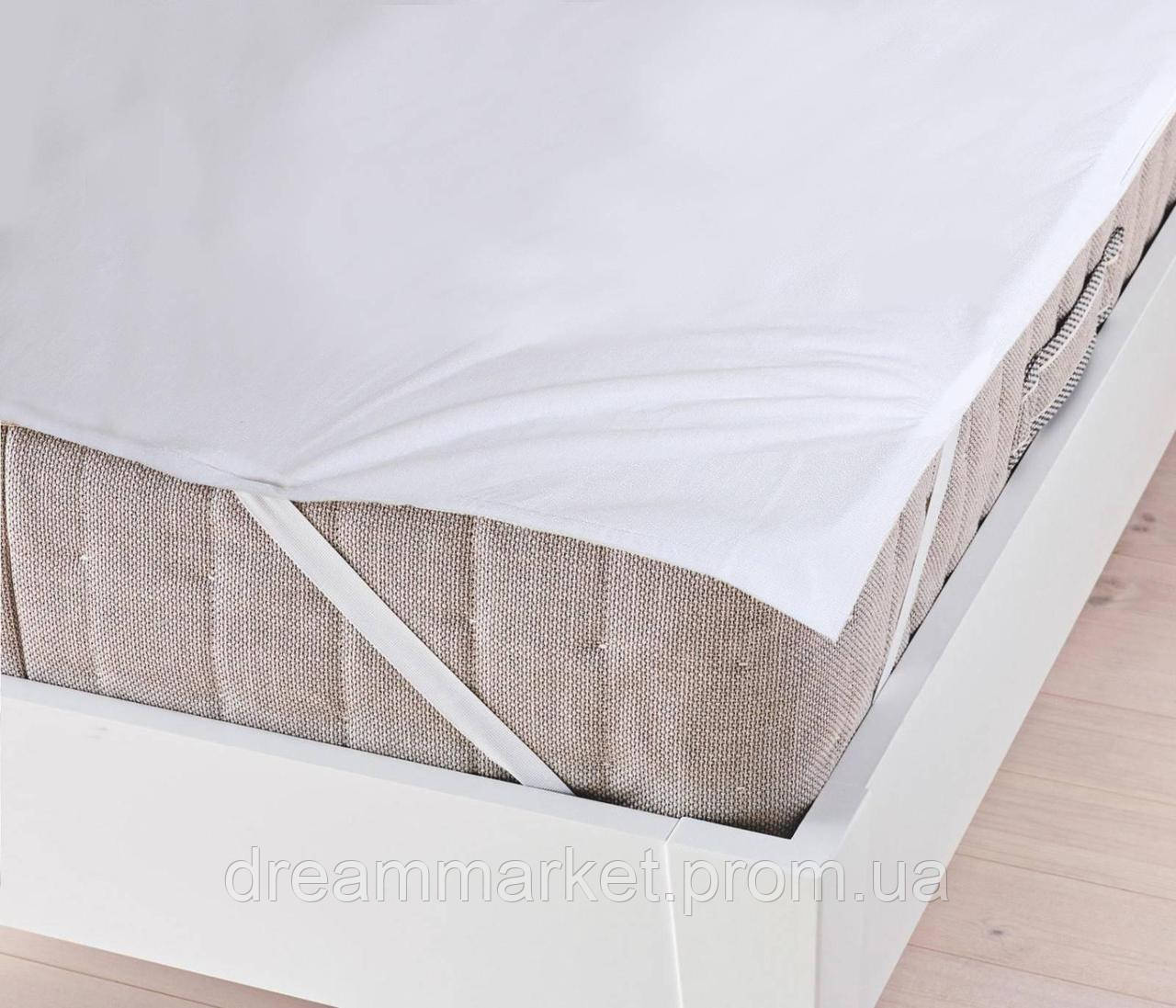 Наматрасник на резинке водонепроницаемый Аква Стоп: мембранная и махровая ткань, цвет белый 120х200 см
