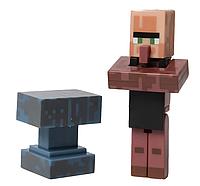 Дитяча Іграшка-Фігурка Майнкрафт Вилладжер Коваль з аксесуаром ковадло, висота 6 см - Villager, Minecraft
