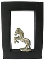 """Картина с бронзовой фигурой """"Лошадь"""" 21x15 (19087)"""