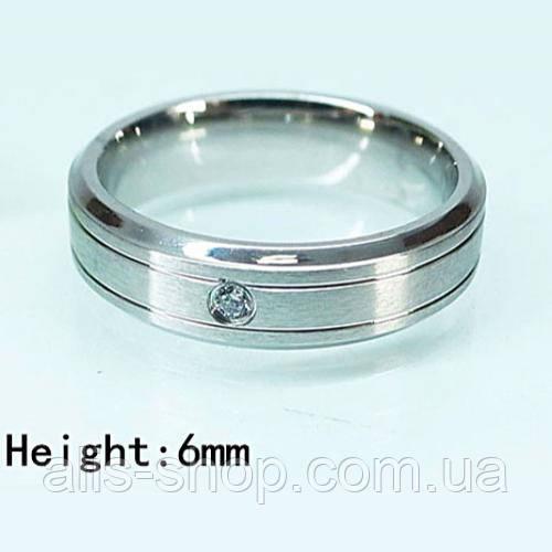 Родированное обручальное кольцо с камушком 18 размер - интернет-магазин