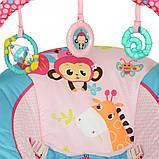 Детский напольный музыкальный шезлонг-баунсер Mastela сине-розовый цвет. кресло качалка для детей, фото 8