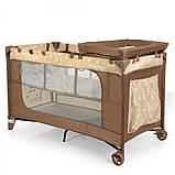 Дитяча манеж-ліжко з пеленальним столиком 2 в 1 El Camino Safe Plus ME 1054 Stars Gray бежевий, фото 5