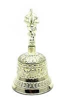 Тибетский колокол бронзовый посеребренный d-7,5 h-14,5см (28323)