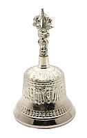 Тибетский колокол бронзовый посеребренный d-9,5 h-15,5см (28365)