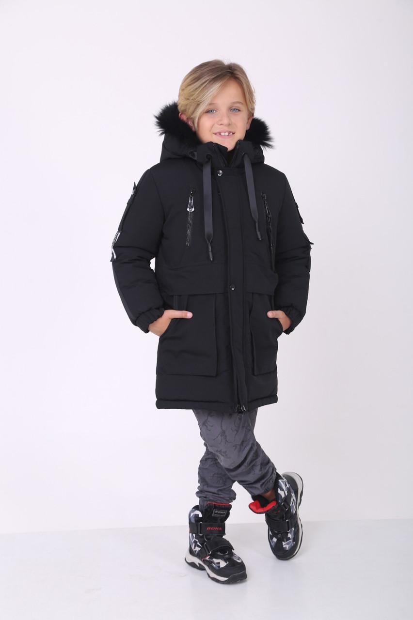 Детские зимние куртки на мальчика 34-42 черный