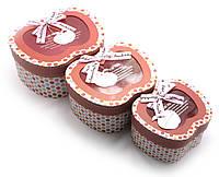 """Коробки для подарков """"Яблоко"""" набор 3шт 19х16х9,5см 16х13х8см 13х7,5х11см (27897)"""