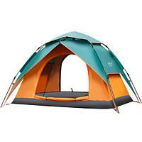 Палатка туристическая для рыбалки 2 местная ZELART Автоматическая с каркасом Оранжево-зеленый (SY-ZJ01)