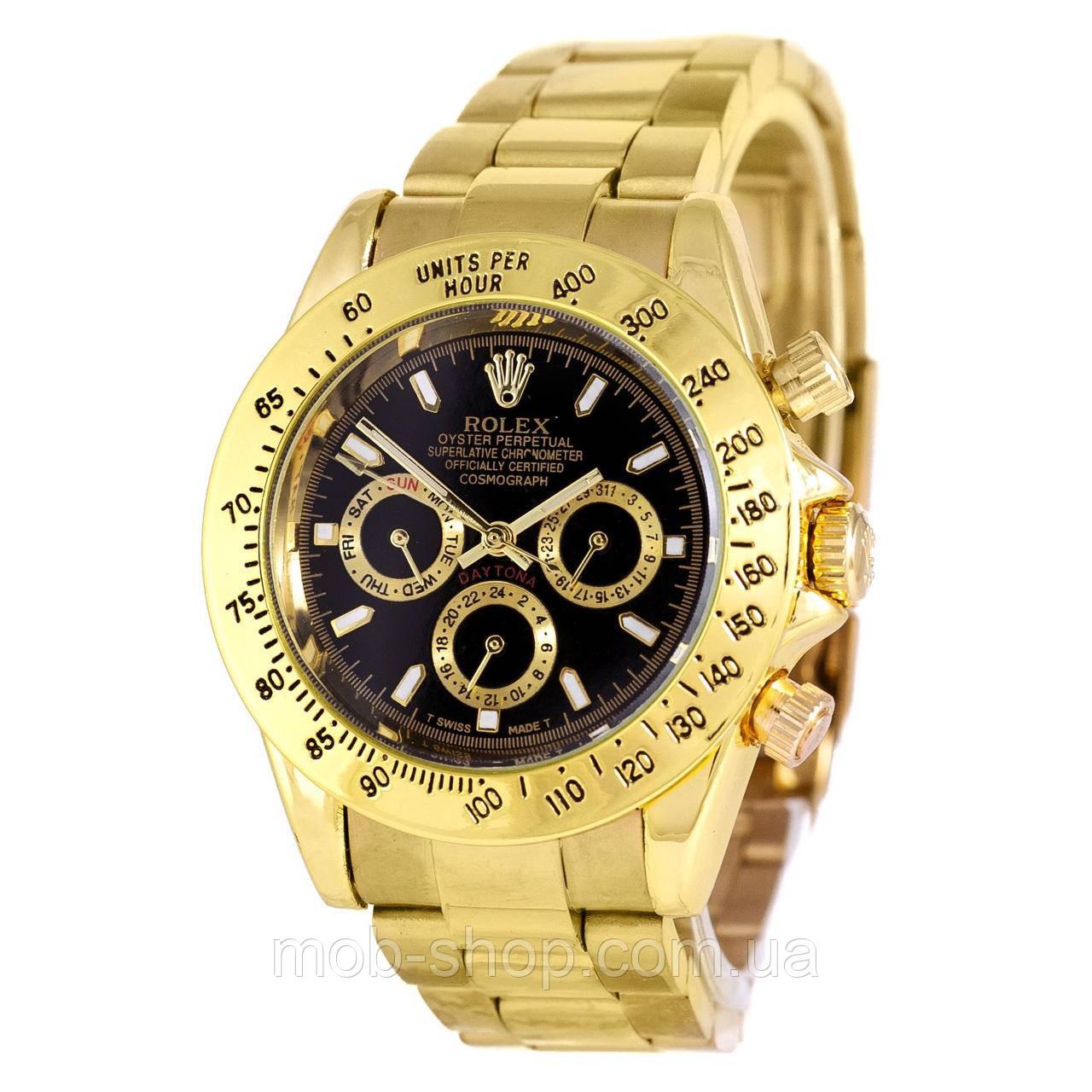 Стильные мужские механические часы Rolex Daytona Automatic AA Men Gold-Black