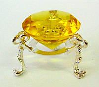 Кристалл хрустальный на подставке желтый 4см (20309)