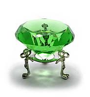 Кристалл хрустальный на подставке зеленый 6см (20383)