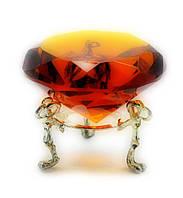 Кристалл хрустальный на подставке янтарь 6см (20381)
