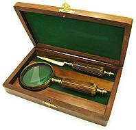 Лупа с костяной ручкой и ножом для конвертов в деревянном футляре 25х14х4,5см (18132)