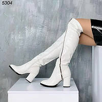 Женские белые сапоги ботфорты высокие еврозима р.36,39,40, фото 1