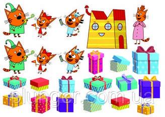 """Вафельная картинка  для торта, топпера, пряника """"Три кота"""", (лист А4) 4"""
