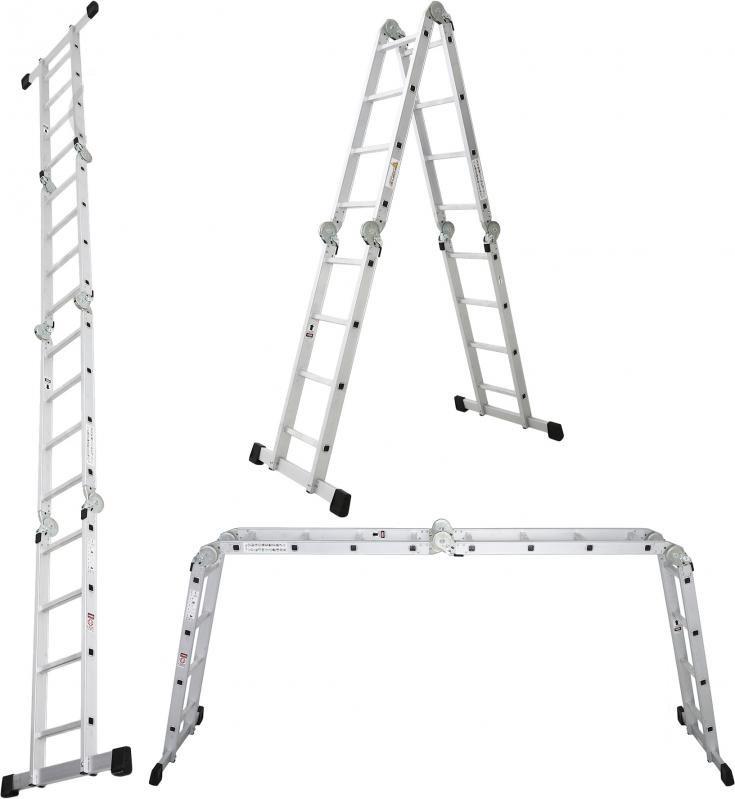 Лестница трансформер, шарнирная, алюминиевая ПРАКТИКА 4х4