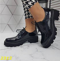 Женские туфли лоферы на высокой тракторной подошве SL-2312, фото 2